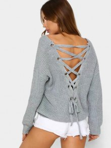 Plain SweaterBack Lace Up V Neck Pullover Sweater